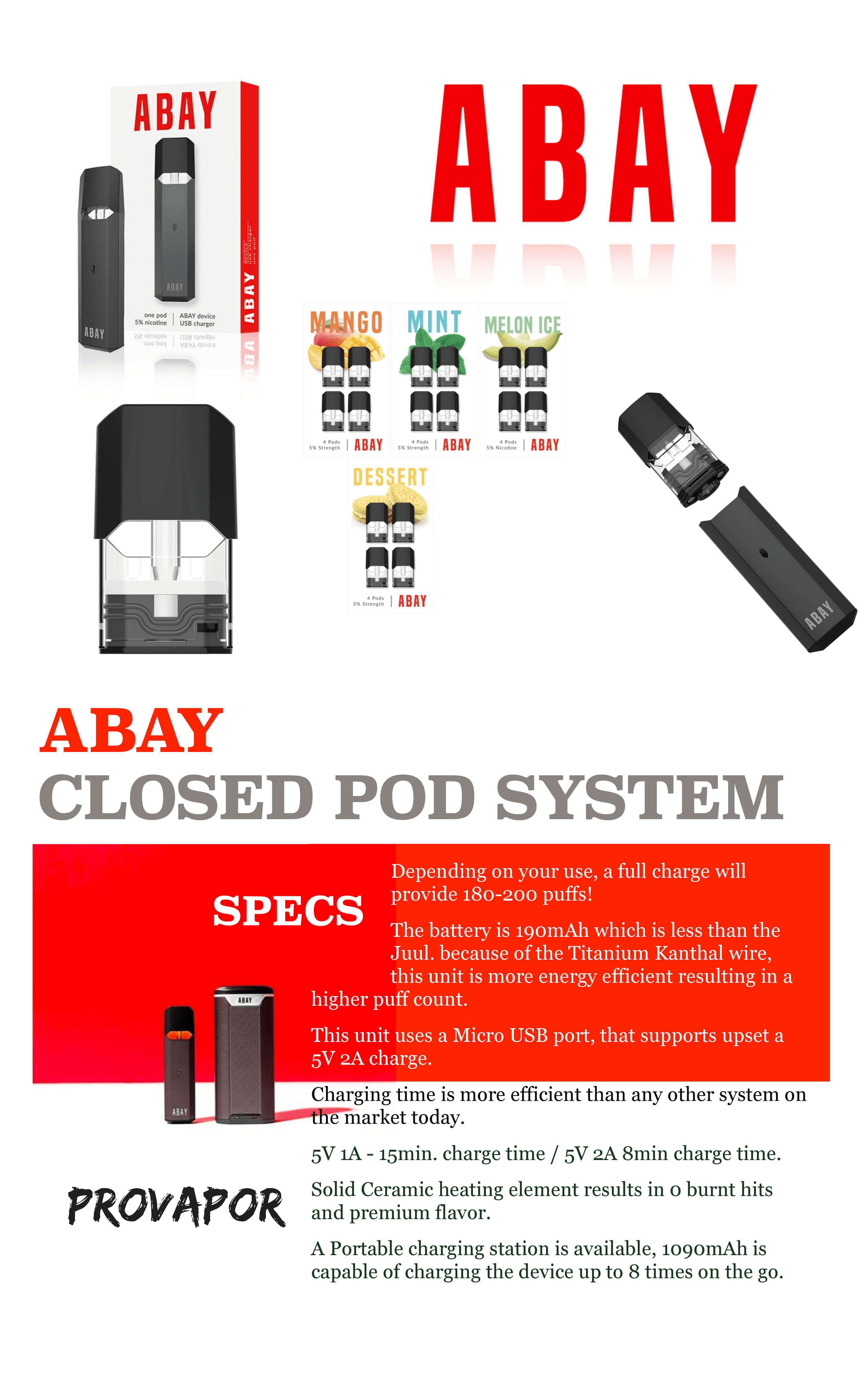 Abay vape pen starter kit information including the specs of the device, the four different flavors, the pods, and the device itself as well as the box all against a white backgound.