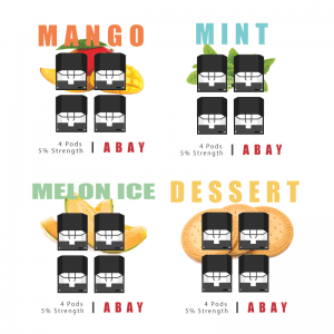 abay replacement pods in four different flavors mango, mint, melon ice and desset with four pods shown for each and an image of the flavor itself all against a white background.