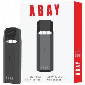 abay in black with the packaging box in white and red to the right all against a white background.