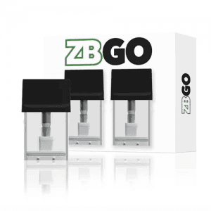ZBGO Replacement Pods in a set of three with black tops and packaging box behind them all against a white background.