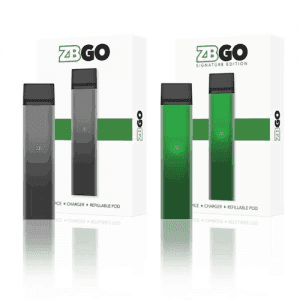 zbgo vaping starter kits in both black and green all against a white background