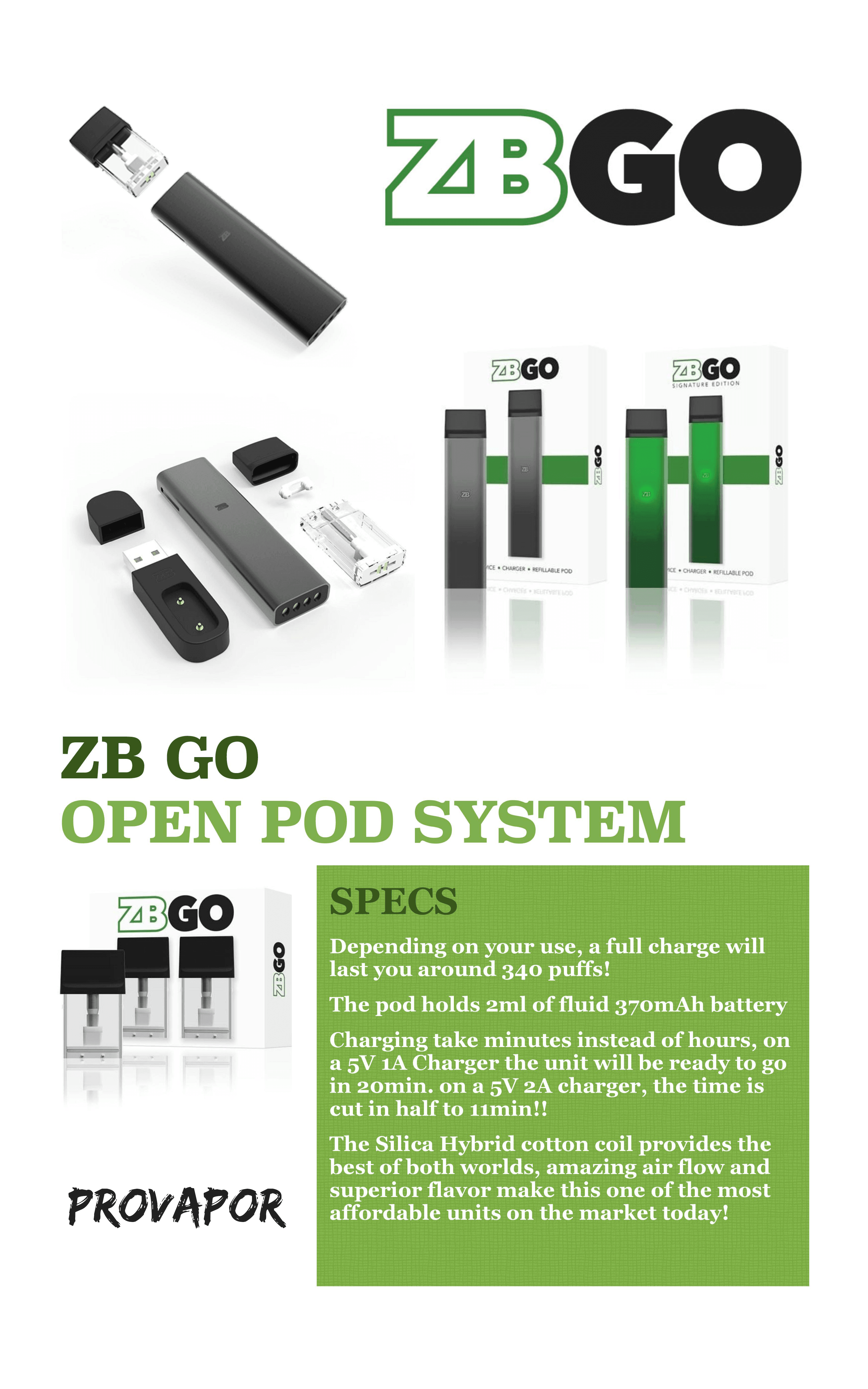 this image shows the specs on a green box with the zbgo device and boxes above in black and green color variations all against a white backgrounds.