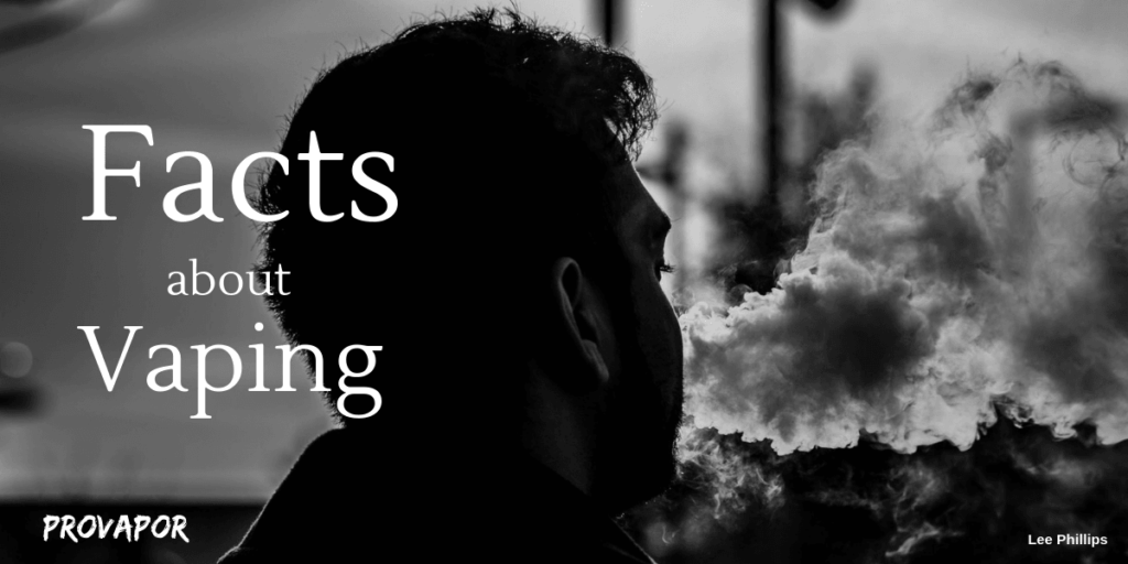 this image is in black and white and shows a man vaping while facing away in the background with the words facts about vaping in the foreground.
