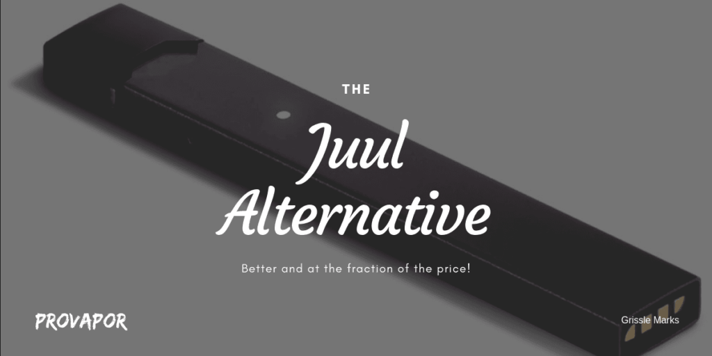 """Hero Image with overlay """"What is Juul and Best Alternative (ABAY)"""" with a Juul in the background."""