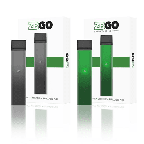 the black and green ZBGO vaping starter kits next to their respective box on a white background