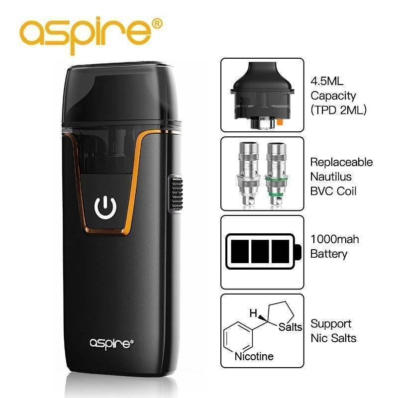 aspire nautilus specifications showing black device on an all white background