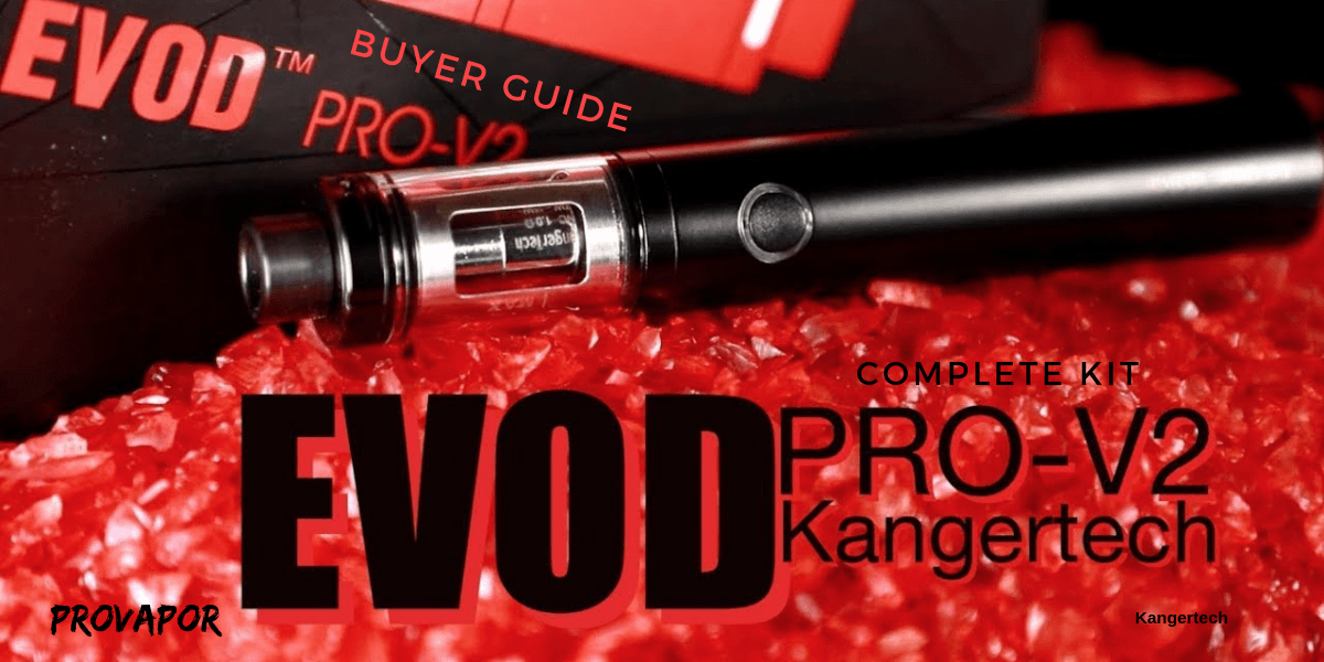 """Hero image with overlay """"Kangertech EVOD Pro V2 Starter Kit Review"""" with the product in the background."""