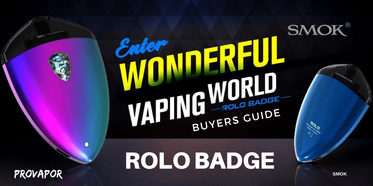 SMOK Rolo Badge Kit in blue and purple and just blue on the right with the words enter wonderful vaping world buyers guide in the middle