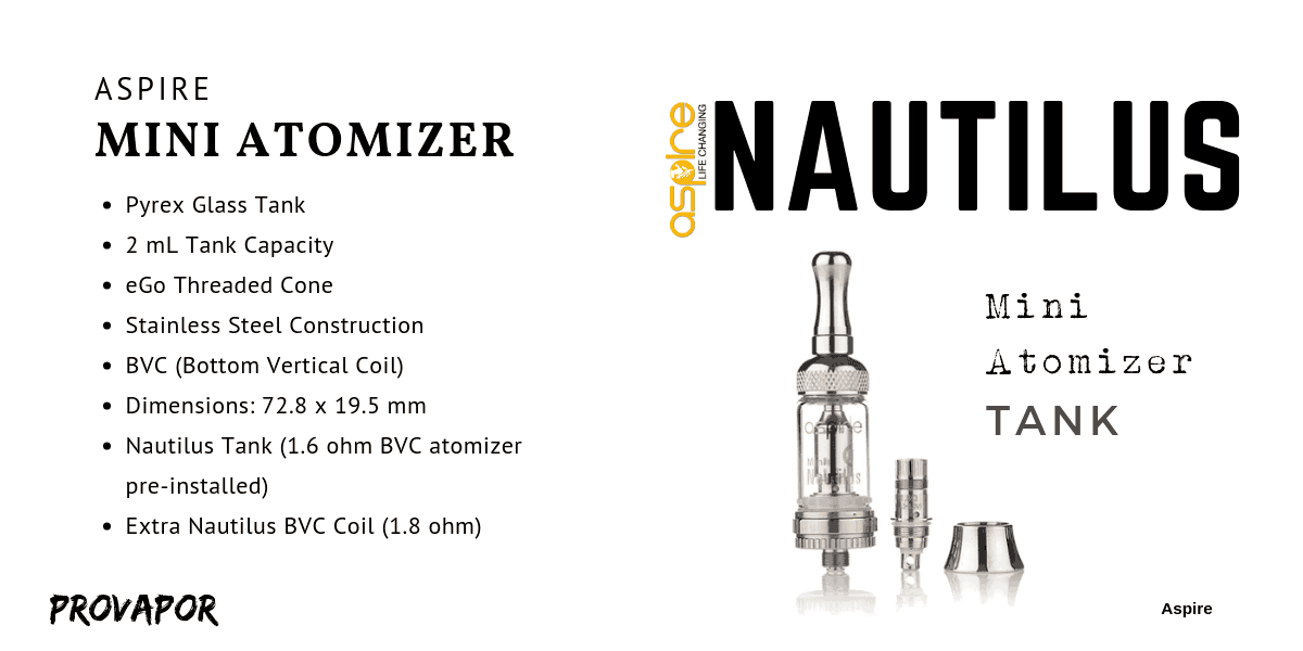 Aspire Nautilus Mini (BVC) Full Review with overlay of the product specifications.