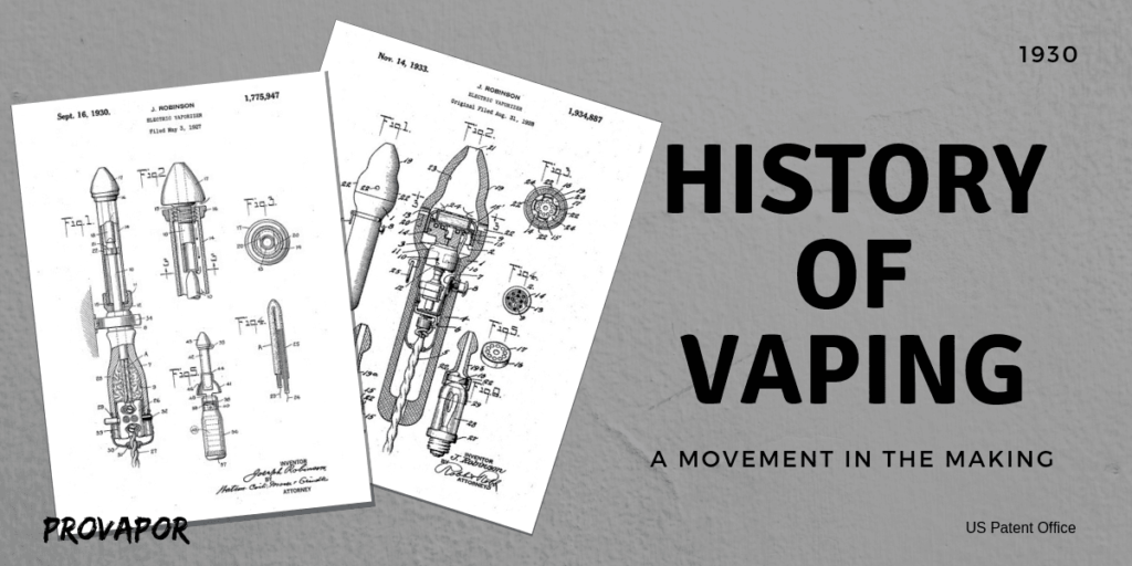 """Hero Image with overlay """"History of Vaping from Creation to the Present Day"""""""