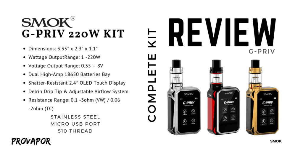 "Hero Image with overlay ""SMOK G-Priv 220W Kit Product Review"""