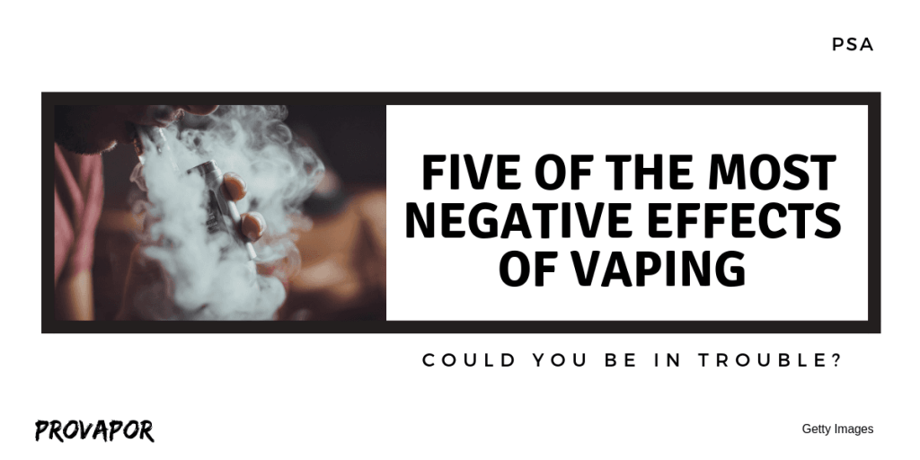 "Banner Image with overlay ""Five of the Most Negative Effects of Vaping"" on a white background."