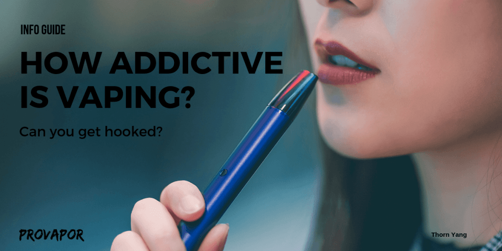 "Banner Image with overlay of ""How Addictive is Vaping? Could you Get Hooked""? with a person vaping in the background."