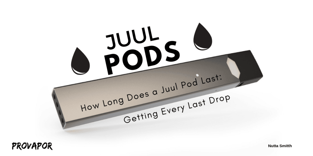 "Banner Image with overlay of ""How Long Does a Juul Pod Last: Getting Every Last Drop"" on a white background with a Juul."