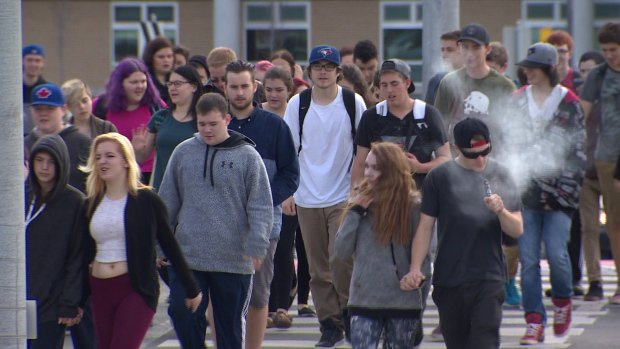 Is Vaping Dangerous: Teens walking on school grounds while vaping.