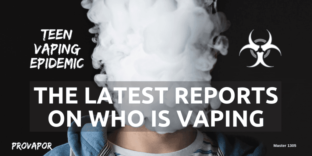 "Banner Image with overlay ""Teen Vaping Epidemic: The Latest Reports on Who is Vaping"" with a person vaping in the background."