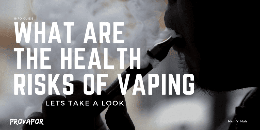 "Banner Image with overlay ""What are the Health Risks of Vaping? Lets Take a Look"" with a person vaping in the background"