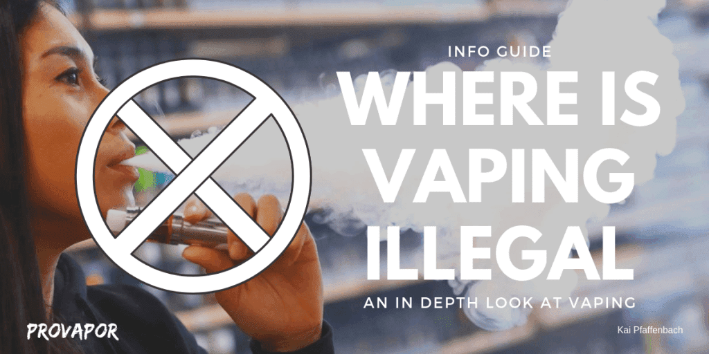 "Banner image with overlay ""Where is Vaping Illegal an in depth look at Vaping"" with a person vaping in the background."