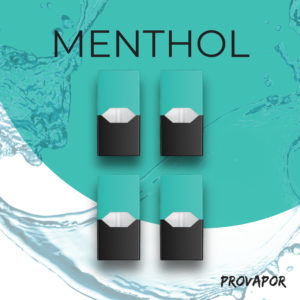 picture showing menthol juul pods with a green top and black bottom in a set of four.
