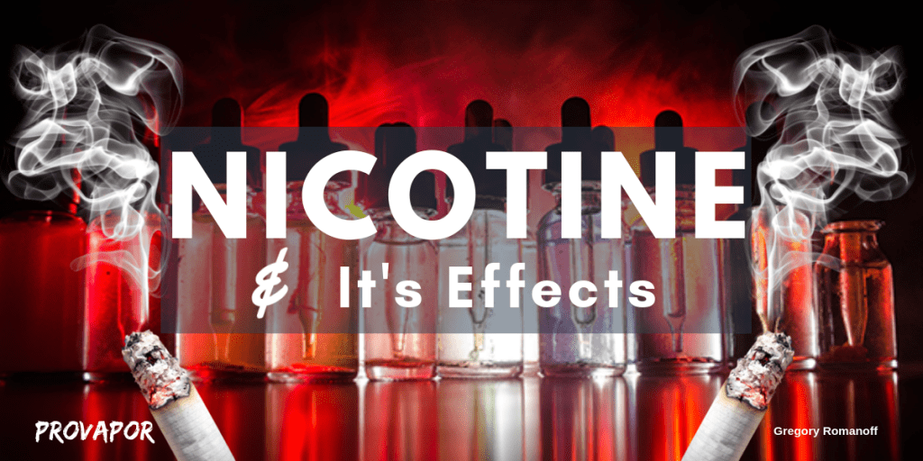"Banner Image with overlay ""Nicotine and Its Effects"" on a red background with burning cigarettes on the border."