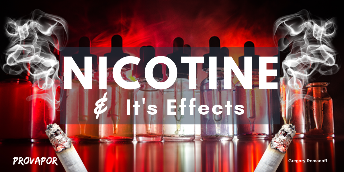 """Banner Image with overlay """"Nicotine and Its Effects"""" on a red background with burning cigarettes on the border."""
