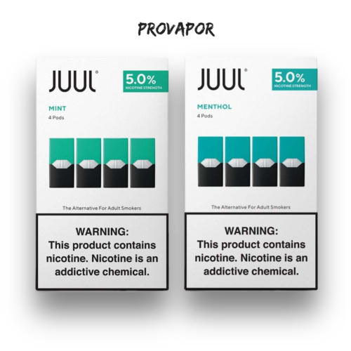 Mint and menthol JUUL Pods side by side on a transparent background.