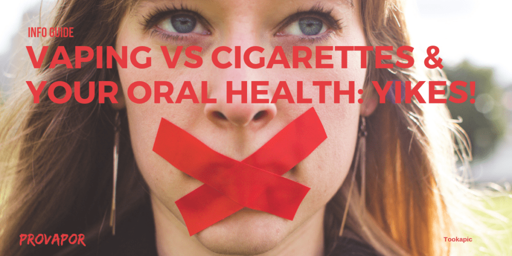 "Hero image with overlay ""Vaping Oral Health vs Cigarettes: Yikes"" with a kid in the background and red tape on her mouth."