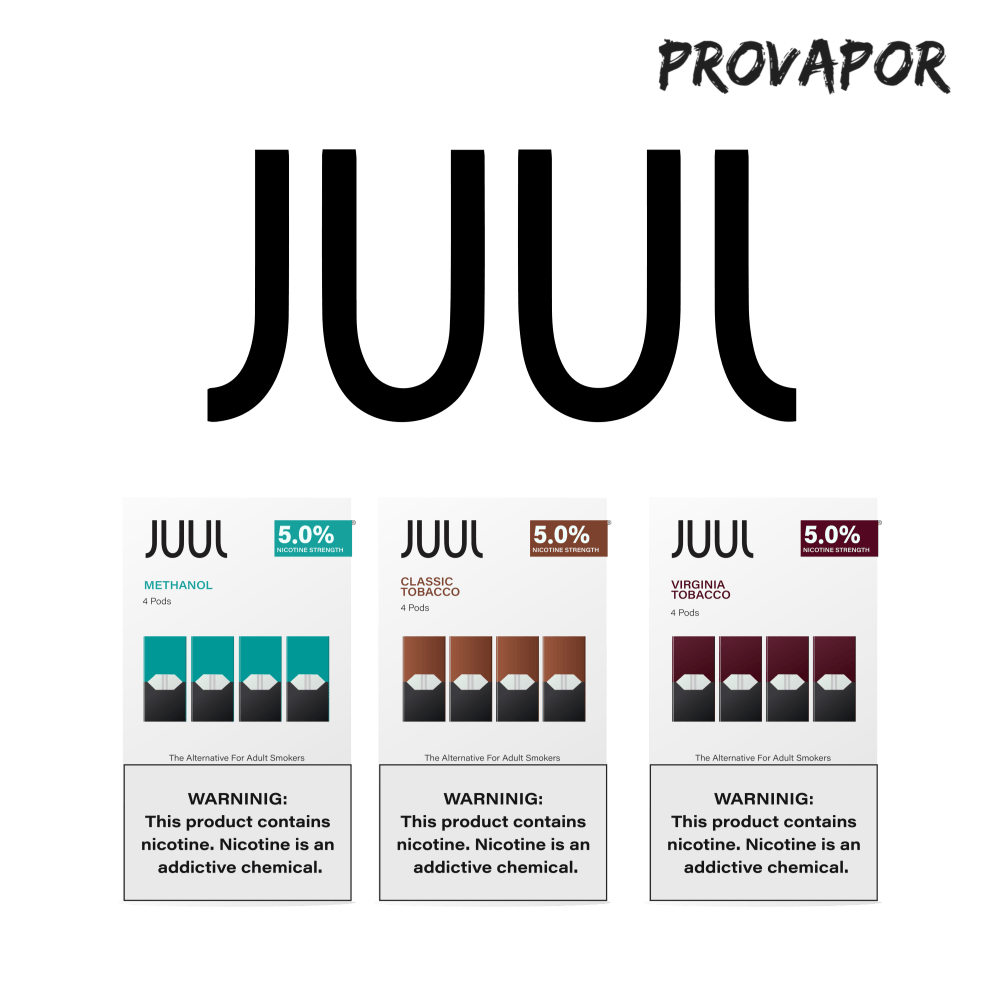 Three of Juuls flavors: Methanol, classic tobacco, and virginia tobacco on a transparent background with the words JUUL on the top.