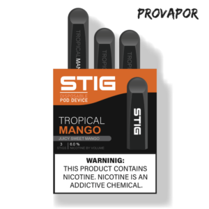 Stig Tropical Mango in its box, the box is orange and black and is on a transparent background.