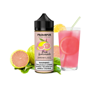 Image shows the ProVapor original pink lemonade e-liquid in the middle with a pink lemonade drink to the right and a pink lemon to the left