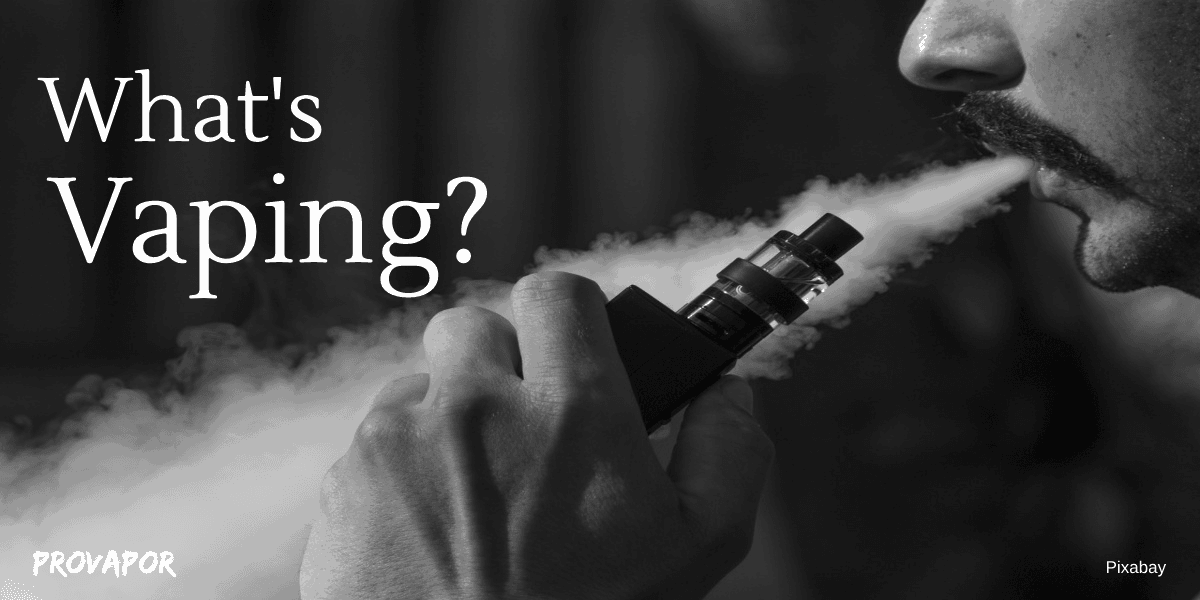 What is Vaping (Your Complete Guide) with a person vaping in the background on an all black background
